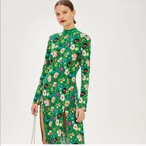 TOPSHOP Green floral dress w/ double slit (PETITE)